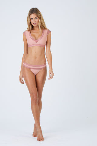 BEACH BUNNY Mia Cheeky Ruched Bikini Bottom - Whiskey Rose Pink Bikini Bottom | Whiskey Rose Pink| Beach Bunny Mia Cheeky Ruched Bikini Bottom - Whiskey Rose Pink Contrasting Waistband  Hipster Ruched Back  Cheeky Coverage Front View