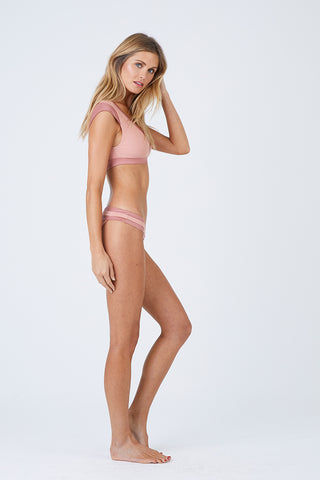 BEACH BUNNY Mia Cheeky Ruched Bikini Bottom - Whiskey Rose Pink Bikini Bottom | Whiskey Rose Pink| Beach Bunny Mia Cheeky Ruched Bikini Bottom - Whiskey Rose Pink Contrasting Waistband  Hipster Ruched Back  Cheeky Coverage Side View
