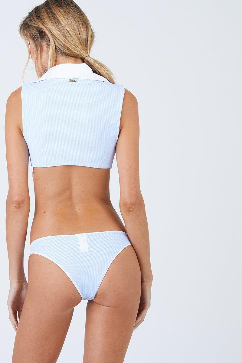BEACH BUNNY Lola Wrap Bikini Top - Riviera Stripe Bikini Top | Riviera Stripe| Beach Bunny Lola Wrap Bikini Top - Riviera Stripe V Neckline Collared Detail Wrap Style Sleeveless Front View
