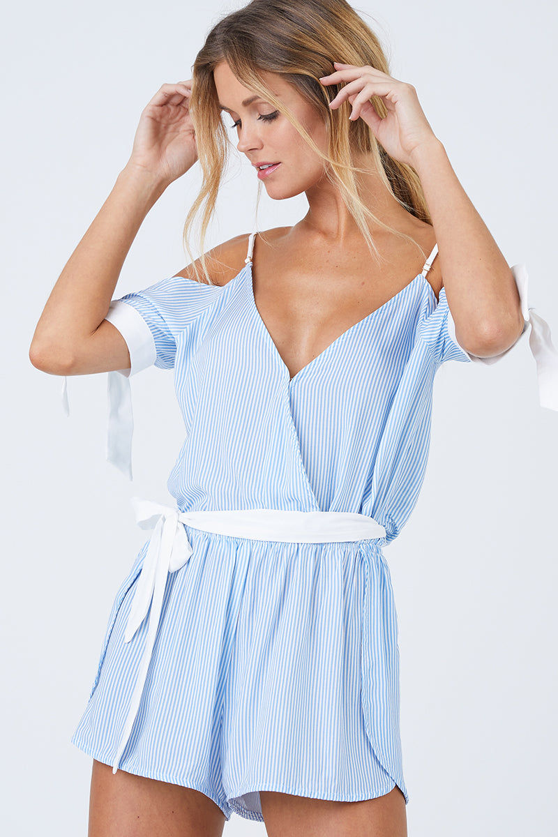 BEACH BUNNY Lola Romper - Riviera Stripe Dress | Riviera Stripe| Beach Bunny Lola Romper - Riviera Stripe Deep V Neckline  Cut Out At Arms With Tied Cuffs Adjustable Shoulder Straps  Drop Waist With Sash Tie Belt Front View