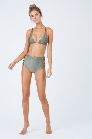 MALAI Marmara Triangle Bikini Top - Sparkly Green Bikini Top | Sparkly Green| Malai  Marmara Triangle Bikini Top - Sparkly Green. Features:  Classic triangle bikini top Adjustable shoulder straps Sliding cups Removable padding Adjustable ties at back Front View