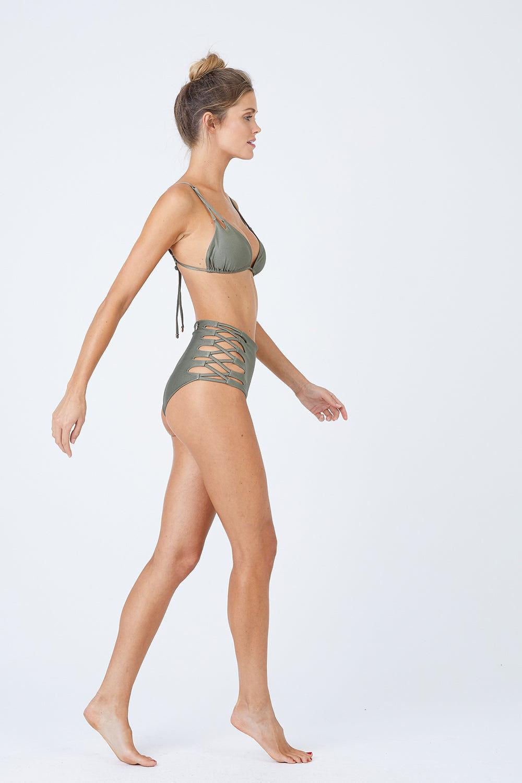 MALAI High Waist Bikini Bottom - Sparkly Green Bikini Bottom | Sparkly Green| Malai High Waist Bikini Bottom - Sparkly Green