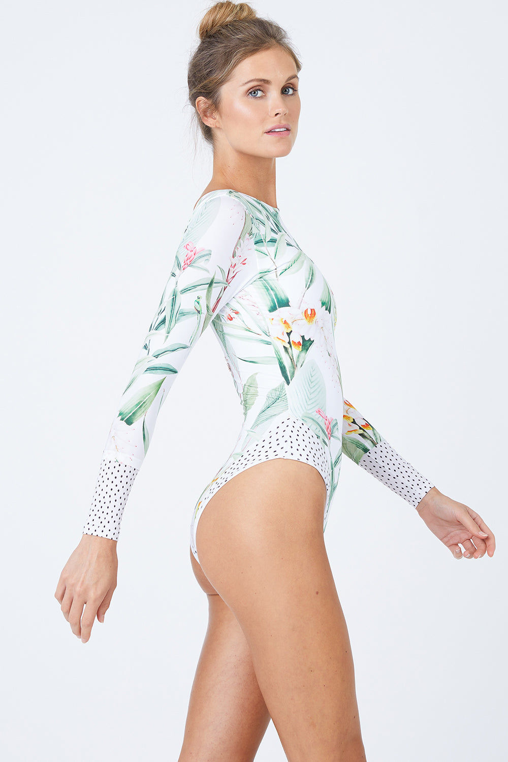 MALAI Long Sleeve Rashguard One Piece Swimsuit - Silent Vegflor One Piece | Silent Vegflor| Malai Long Sleeve One Piece Swimsuit - Silent Vegflor. Features:   Long Sleeves Higher Neckline  Scoop Back High Cut Leg  Cheeky Coverage Front View