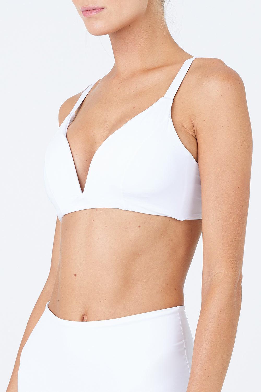 MALAI Baltic V Wire Bralette Bikini Top - White Bikini Top | White| Malai Baltic V Wire Bralette Bikini Top - White Features:  Crop top bikini design  Supportive adjustable shoulder straps Double straps at back Provides additional padding Front View