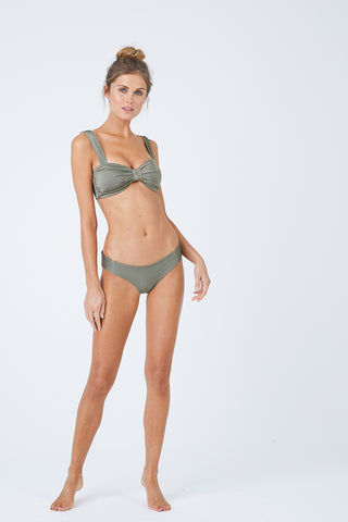 MALAI Ruched Bikini Bottom - Sparkly Green Bikini Bottom | Sparkly Green| Malai Ruched Bikini Bottom - Sparkly Green. Features:  Low rise hipster Ruched rear Cheeky to moderate coverage Fully lined Back View