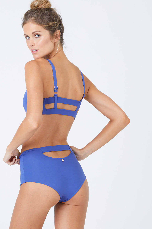 MALAI High Waist Bikini Bottom - Sodalite Blue Bikini Bottom   Sodalite Blue  Malai High Waist Bikini Bottom - Sodalite Blue. Features:   High Waisted Bikini Bottom  Back Cut Out Detail Moderate Coverage Back View