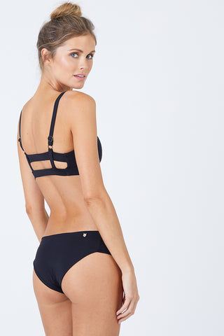 MALAI Ruched Side Bikini Bottom - Black Bikini Bottom | Black| Malai Ruched Side Bikini Bottom - Black. Features:  Low rise hipster Ruched sides Cheeky to moderate coverage Fully lined Back View