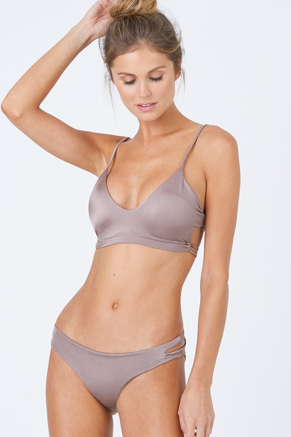 MALAI Pacific Cut Out Bralette Bikini Top - Sparkly Taupe Bikini Top | Sparly Taupe| Malai Pacific Cut Out Bralette Bikini Top - Sparly Taupe. Features:  Bralette bikini top Adjustable straps Removable padding Cutout side detail Front View