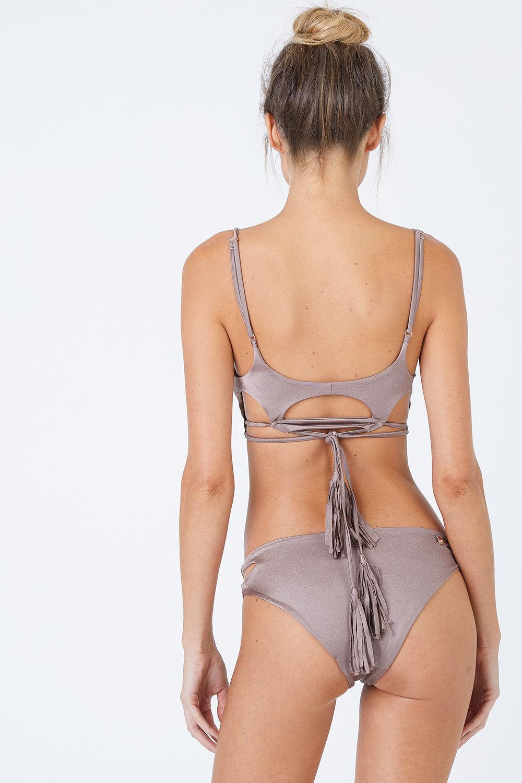 MALAI Cut Out Bikini Bottom - Sparkly Taupe Brown Bikini Bottom   Sparkly Taupe Brown   Malai Cut Out Bikini Bottom - Sparkly Taupe Brown. Features:  Cheeky bikini bottom Cut out sides Back View