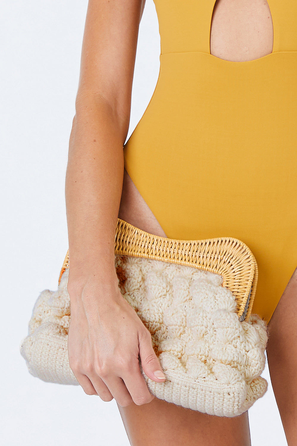 """KAYU Hurricane Yarn Clutch - White Bag 