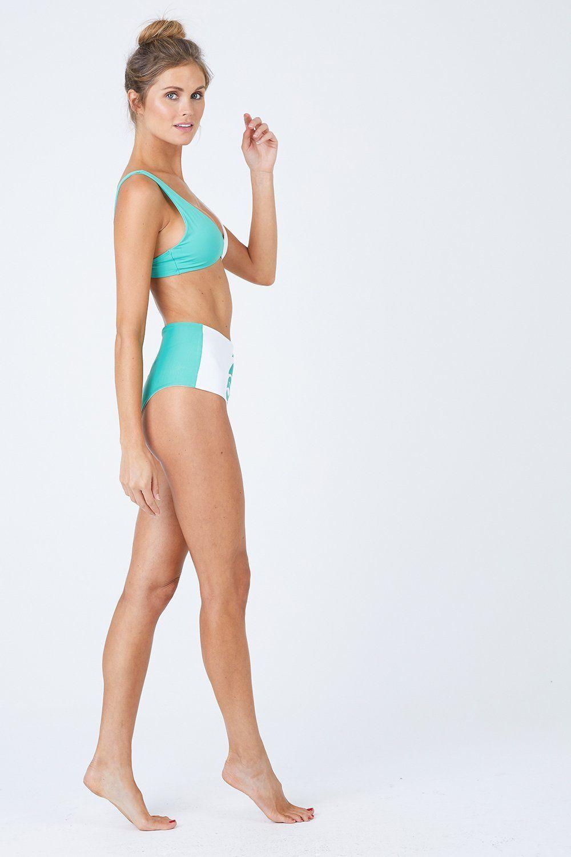 L SPACE Portia High Waist Bikini Bottom - Spearmint/White Bikini Bottom | Spearmint/White| L Space Portia High Waist Bikini Bottom - Spearmint High Waist Bikini Bottom Fold Over to Mid Rise Cheeky-Moderate Coverage  Seamless Made in the USA Front View