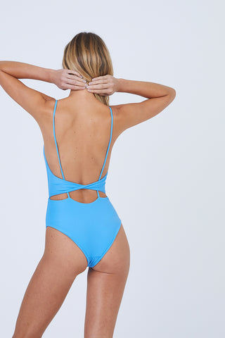 AILA BLUE Frankie Front Tie Cut Out One Piece Swimsuit - Patriot Blue One Piece | Patriot Blue| Frankie Front Tie Cut Out One Piece Swimsuit - Patriot Blue