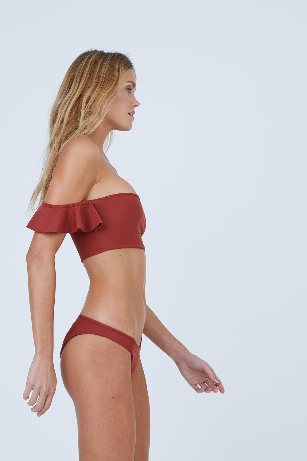 AILA BLUE Wildflower Moderate Bikini Bottom - Canyon Bikini Bottom | Canyon| Aila Blue Wildflower Moderate Bikini Bottom - Canyon Mid Rise  Cheeky-Moderate Coverage  Front View