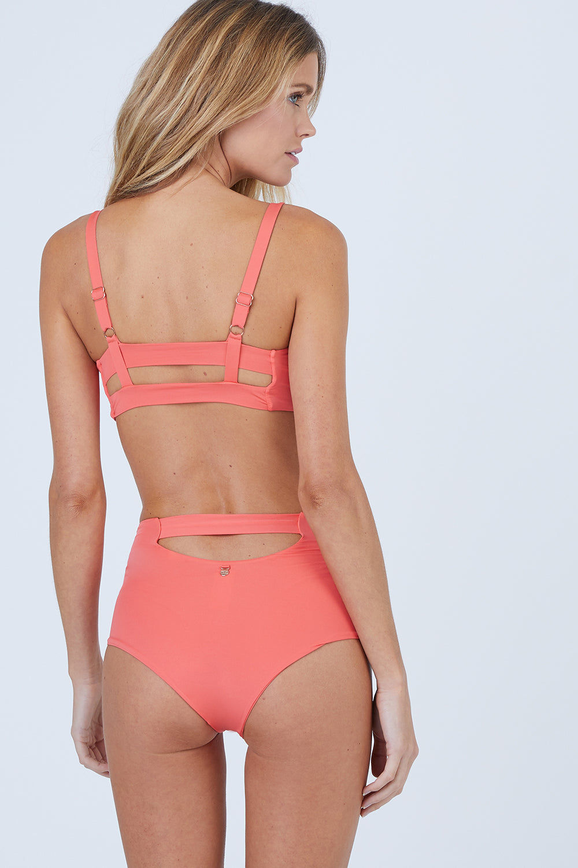 MALAI High Waist Bikini Bottom - Tangerine Bikini Bottom | Tangerine| Malai High Waist Bikini Bottom - Tangerine