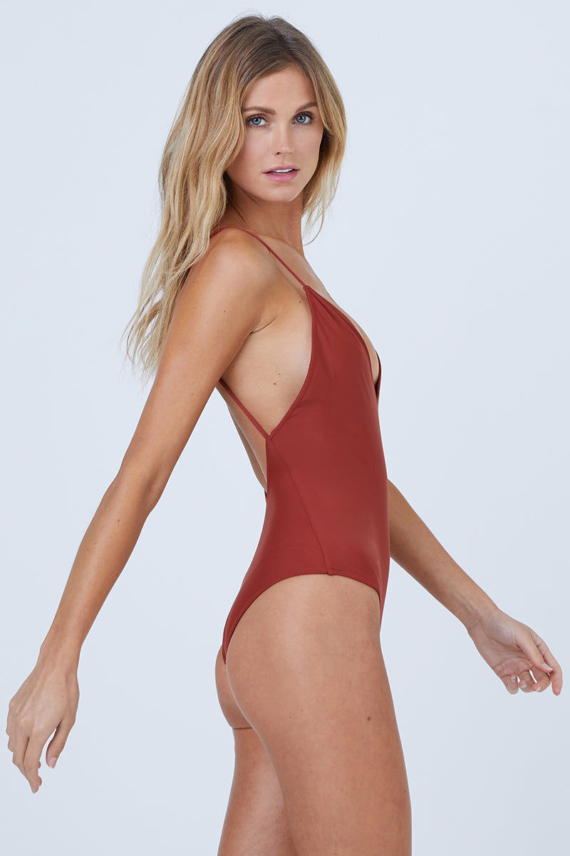 AILA BLUE Mickey Plunging One Piece Swimsuit - Canyon One Piece | Canyon| Aila Blue Mickey Plunging One Piece Swimsuit - Canyon Plunging V Neckline  Fixed Spaghetti Straps  Moderate Coverage  80% Nylon / 20% Spandex Front View