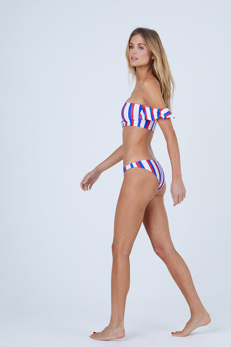 AILA BLUE Aquarius Off Shoulder Bikini Top - Americana Stripe Bikini Top | Americana Stripe| Aila Blue Aquarius Off Shoulder Bikini Top - Americana Stripe Straight Neckline Off Shoulder Ruffle Sleeves  Bandeau Style Front View