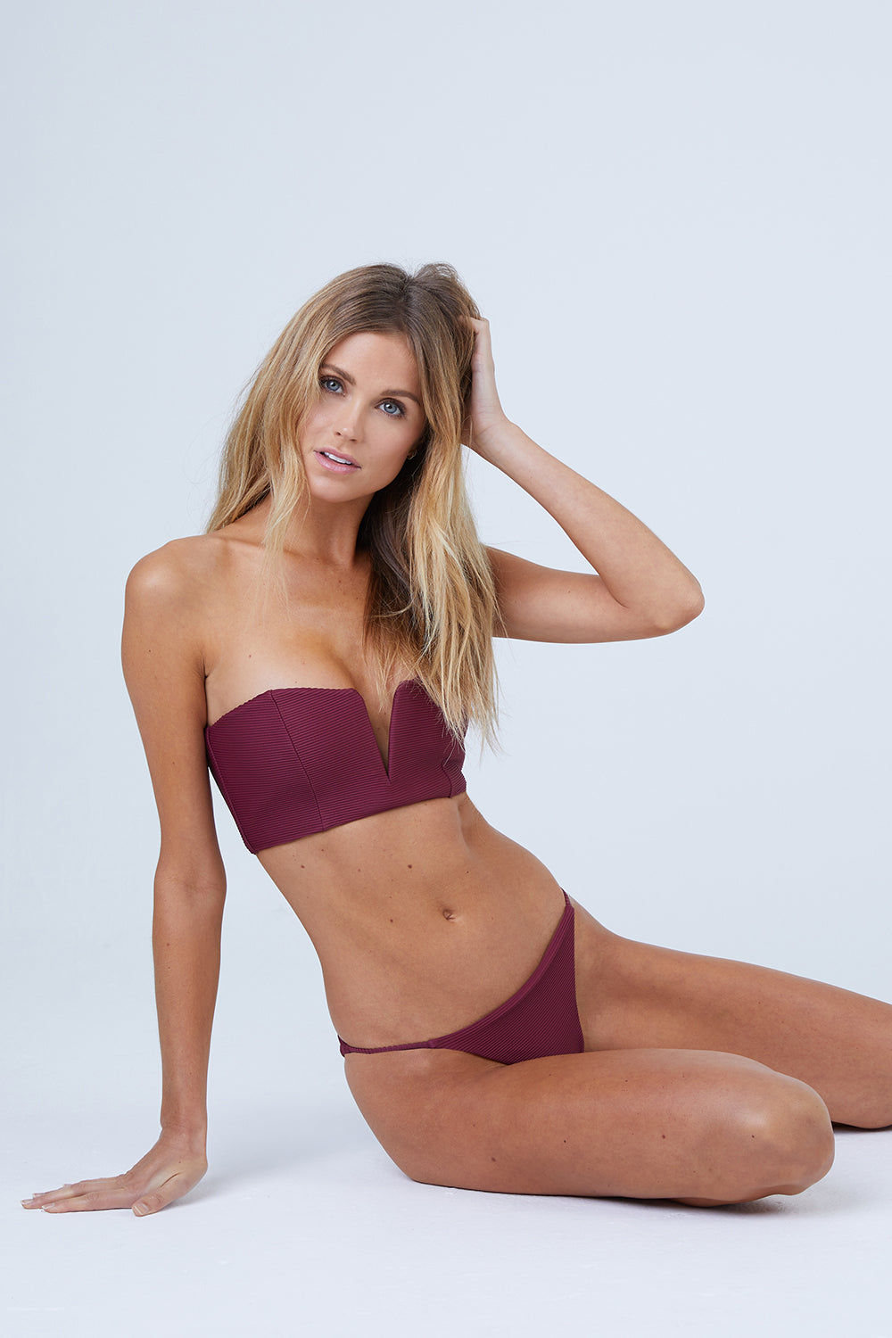 ONIA Rochelle Thin Side Strap Bikini Bottom - Maroon Bikini Bottom | Maroon| Onia Rochelle Thin Side Strap Bikini Bottom - Maroon Low Rise  Fixed Thin Side Straps  Cheeky Coverage  Ribbed Fabric  Front View
