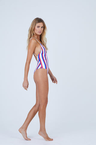 AILA BLUE Mickey Plunging One Piece Swimsuit - Americana Stripe One Piece | Americana Stripe| Aila Blue Mickey Plunging One Piece Swimsuit - Americana Stripe Plunging V Neckline  Fixed Spaghetti Straps  Moderate Coverage  80% Nylon / 20% Spandex Side View