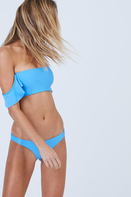 AILA BLUE Wildflower Moderate Bikini Bottom - Patriot Blue Bikini Bottom | Patriot Blue| Aila Blue Wildflower Moderate Bikini Bottom - Patriot Blue Mid Rise  Cheeky-Moderate Coverage  Front View