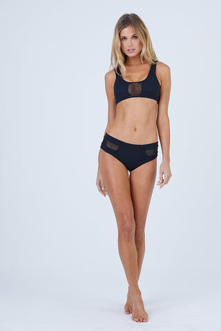 AILA BLUE Vision Mesh Bikini Top - Black Waffle Bikini Top | Black Waffle| Aila Blue Vision Mesh Bikini Top - Black Waffle Scoop Neckline  Thick Shoulder Straps  Scoop Back  Mesh Panel Accents Front View