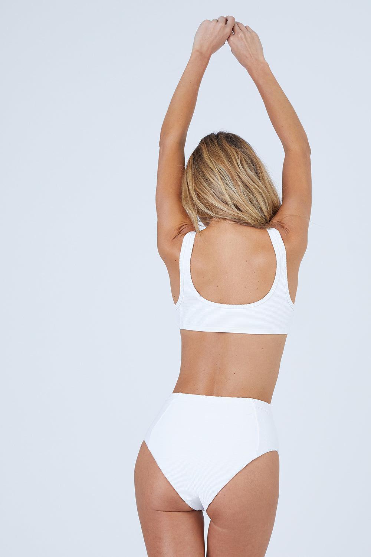 ONIA Leah High Waisted Bikini Bottom - Marshmallow Rib Bikini Bottom | Marshmallow Rib| Onia Leah High Waisted Bikini Bottom - Marshmallow High Waisted High Cut Leg Princess Seams Ribbed Fabric Moderate Coverage Front View