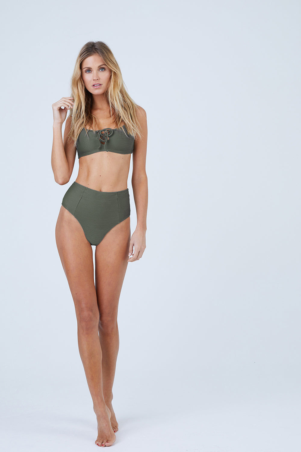 ONIA Erin Lace Up Front Bikini Top - Forest Green Rib Bikini Top | Forest Green Rib| Onia Erin Lace Up Front Bikini Top - Forest Slight Scoop Neckline Lace Up Front Detail  Pull Over Style  Thick Shoulder Straps Ribbed Fabric Front View