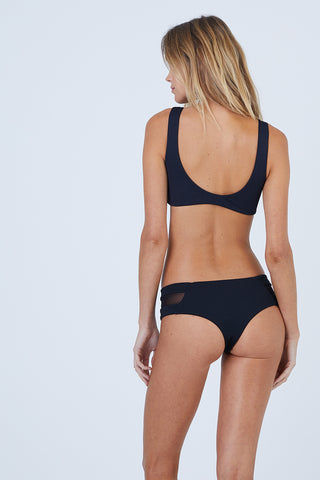 AILA BLUE Vision Mesh Bikini Top - Black Waffle Bikini Top | Black Waffle| Aila Blue Vision Mesh Bikini Top - Black Waffle Scoop Neckline  Thick Shoulder Straps  Scoop Back  Mesh Panel Accents Back View