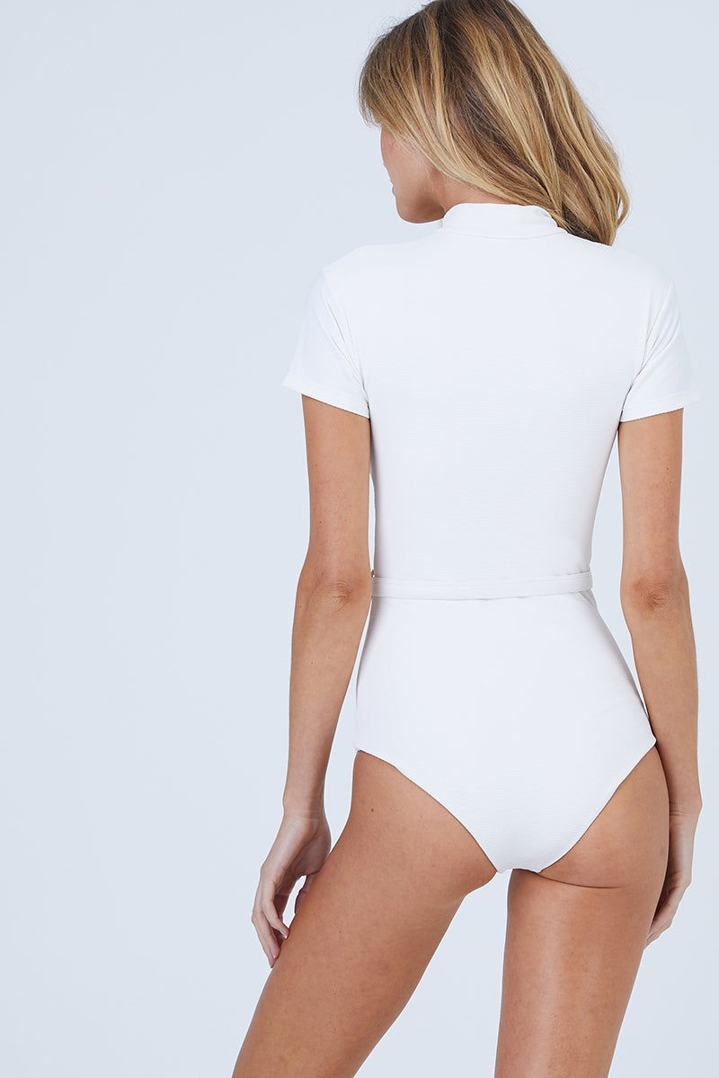 AILA BLUE Pierce Short Sleeves One Piece Swimsuit - White Waffle One Piece | White Waffle| Aila Blue Pierce Short Sleeves One Piece Swimsuit - White Waffle High neck Short sleeves Belted surf suit Zipper front closure Moderate coverage Front View