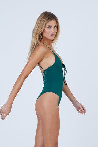 4865b379d8bc6 ... TAVIK Monahan Lace Up One Piece Swimsuit - Storm Green One Piece |  Storm Green| ...