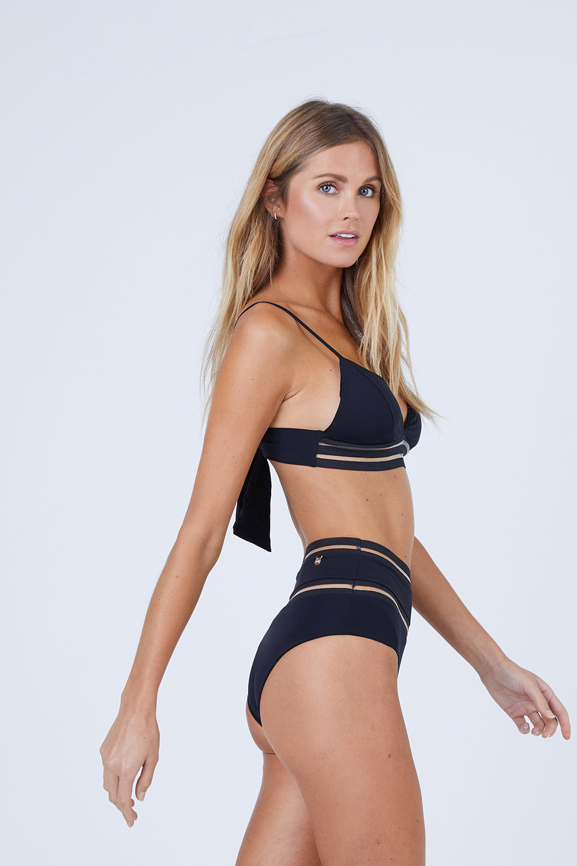 MALAI Line Free High Waist Bikini Bottom - Black Bikini Bottom | Black| Malai Line Free High Waist Bikini Bottom - Black. Features:  High waisted bikini bottom Transparent lines detail Moderate coverage side View