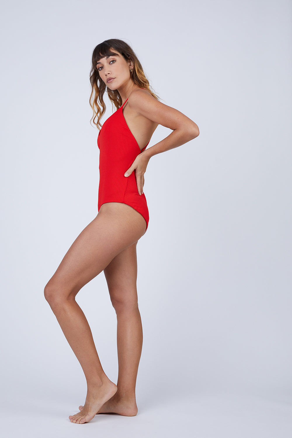 MARA HOFFMAN Emma Deep V-Neck One Piece Swimsuit - Red One Piece   Red  Mara Hoffman Emma Deep V Neck One Piece Swimsuit - Red deep v neckline  criss cross back straps  high cut leg  moderate coverage  Front View