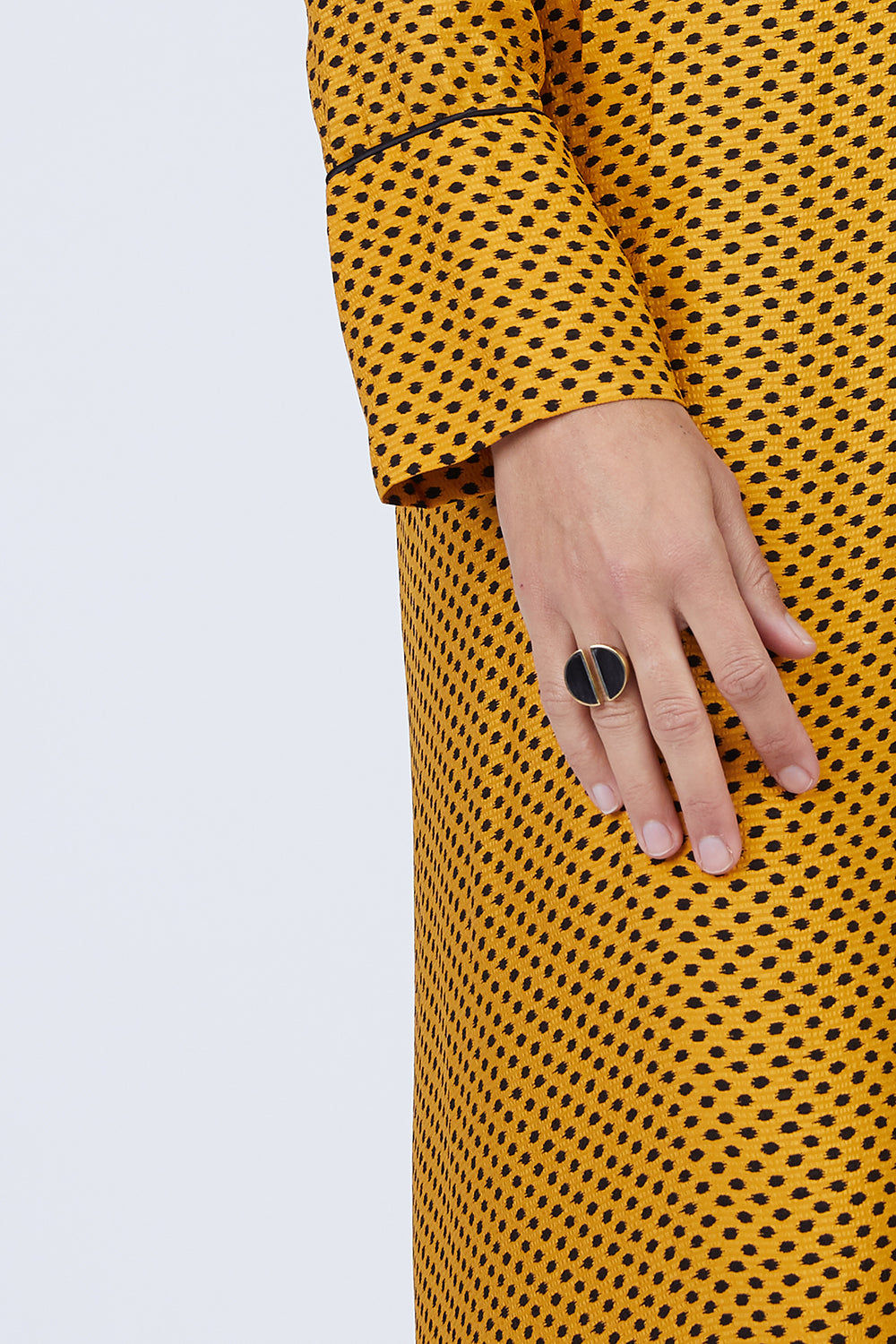 SOKO JEWELRY Split Moon Ring - Black Jewelry | Black| Soko Jewelry Split Moon Ring - Black Split black horn brass ring   Recycled polished brass Handcrafted in Kenya Front View