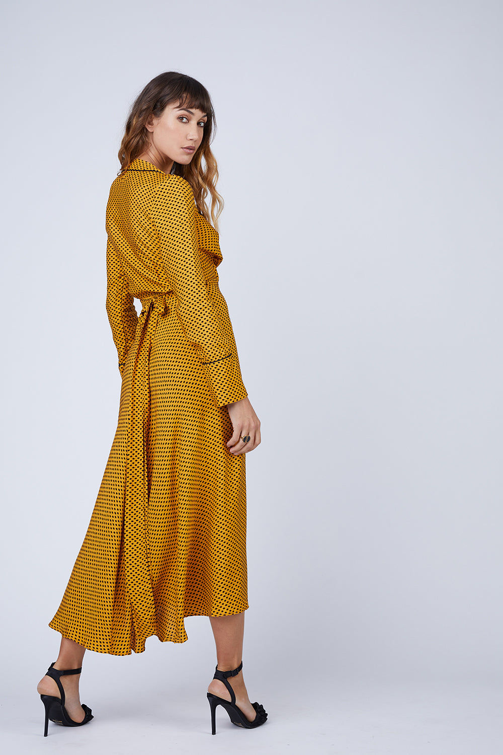 BEC & BRIDGE Sun Valley Midi Dress - Spot Print Dress | Spot Print| Bec & Bridge Sun Valley Midi Dress - Spot Print. Features:  Wrap dress with matching tie at waist Midi length Relaxed fit 100% Viscose Made in Australia Back View