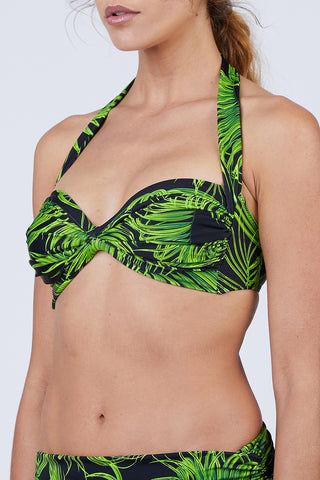 db6548d1657ba ... NORMA KAMALI Bill Halter Sweetheart Neckline Bikini Top - Palm Leaf  Bikini Top