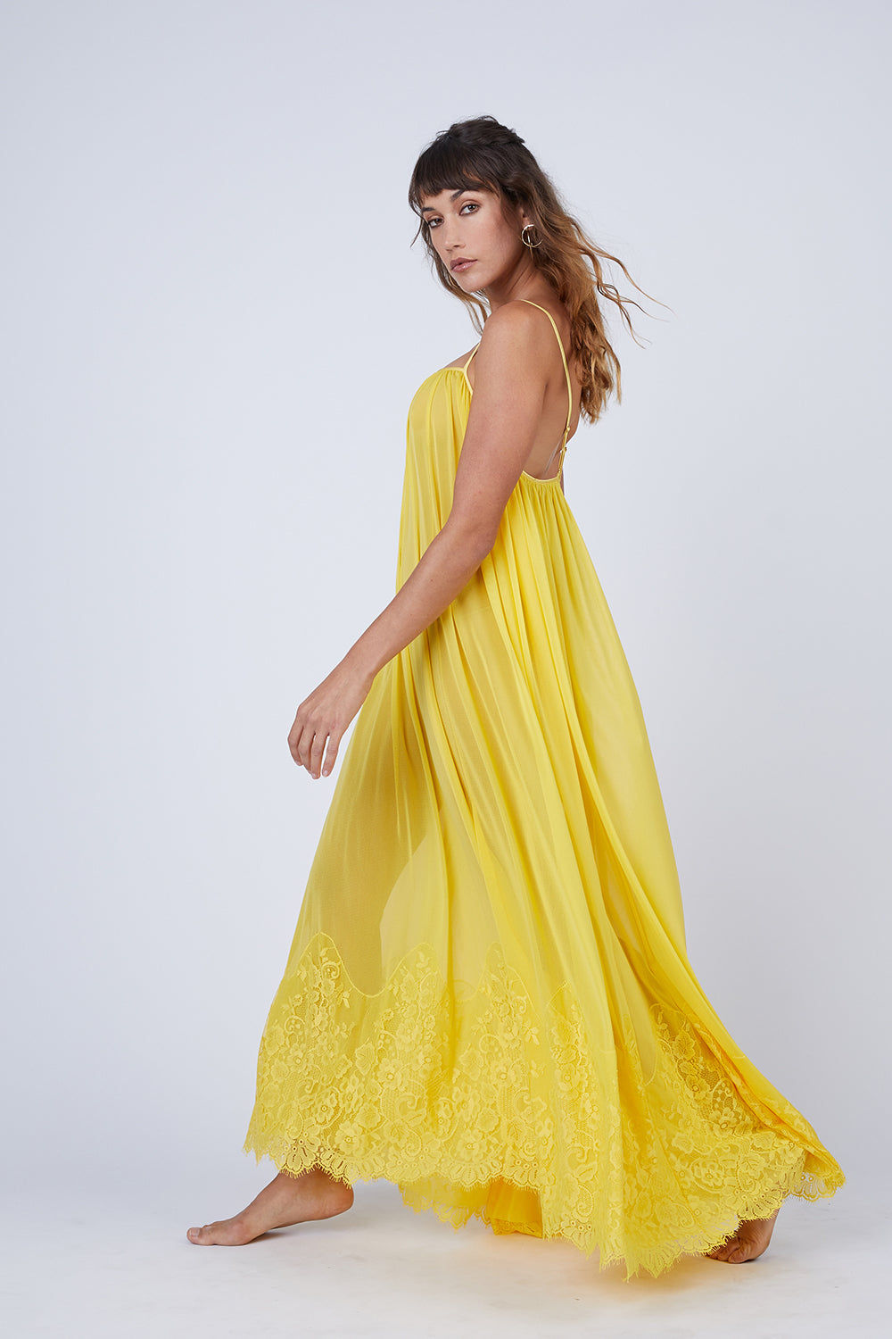 WE ARE HAH Mad Maxi Sheer Mesh Dress - Lemon Drop Dress   Lemon Drop  Hot As Hell Mad Maxi Dress - Lemon Drop Sheer Maxi Dress Straight Neckline Spaghetti Straps Lace End Detail  Easy Transition From Beach to Street Front View