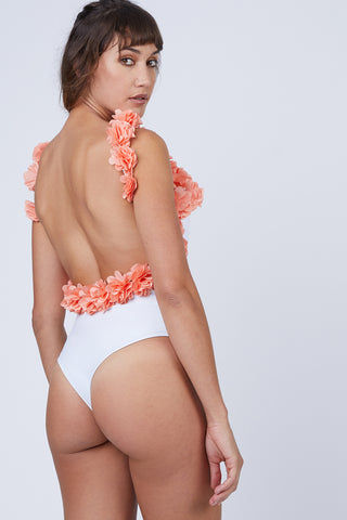 CANDY SWIMWEAR Floribean Flower Trim One Piece Swimsuit - White/Orange One Piece | White/Orange| Candy Swimwear Floribean Flower Trim One Piece Swimsuit - White/Orange Scoop Neckline Floral Trim Low Scoop Back High Cut Leg Cheeky Coverage Front View