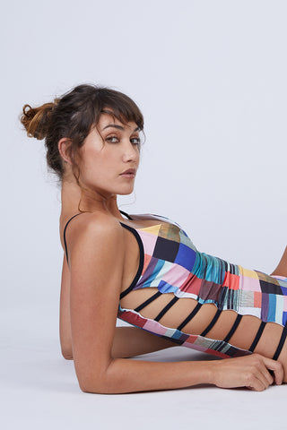 CANDY SWIMWEAR Malla Strappy Side Cut Out One Piece Swimsuit - Artsy Abstract Print One Piece | Artsy Abstract Print| Candy Swimwear Malla Strappy Side Cut Out One Piece Swimsuit - Artsy Abstract Print V Neckline Thin Shoulder Straps  Strappy Side Cut Outs  Cheeky Coverage Handmade in Peru Side View