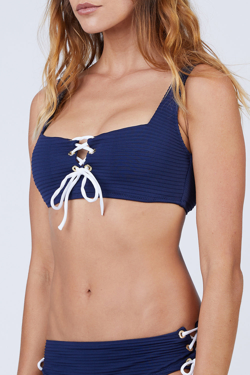 HEIDI KLEIN Lace Square Neck Bikini Top - Navy Bikini Top   Navy  Heidi Klein Lace Square Neck Bikini Top - Navy. Features:  Fully lined in soft lining for ultimate comfort. Fine elastic and binding along under bust and back strap are delicate and lightly supportive. Soft side seam boning to enhance bust support. Wide neck strap and elasticated under bust is for additional comfort and support. Front View