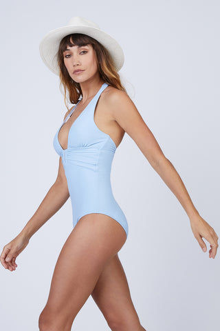 HEIDI KLEIN U-Bar One Piece Swimsuit - Baby Blue One Piece | Baby Blue| Heidi Klein U-Bar One Piece Swimsuit - Baby Blue. Features:  Removable foam padding. Bespoke U Bar hardware at the centre front subtly draws attention to the bust. Neckline, underarm, back and legs have hidden elastic for secure fit and halterneck ties allow for adjustable fit. The bottom cut is Mid Coverage. Front View