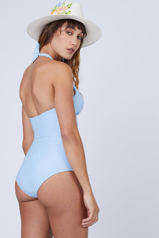 HEIDI KLEIN U-Bar One Piece Swimsuit - Baby Blue One Piece | Baby Blue| Heidi Klein U-Bar One Piece Swimsuit - Baby Blue. Features:  Removable foam padding. Bespoke U Bar hardware at the centre front subtly draws attention to the bust. Neckline, underarm, back and legs have hidden elastic for secure fit and halterneck ties allow for adjustable fit. The bottom cut is Mid Coverage. Back View