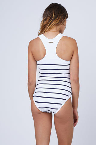 HEIDI KLEIN Racerback One Piece Swimsuit - Nautical Stripe Print One Piece | Nautical Stripe Print| Heidi Klein Racerback One Piece Swimsuit - Nautical Stripe. Features:  Internal shelf bra provides hidden support and has boning at side seam for extra support. The neckline, armholes and legs are trimmed with bonded fabric for a clean finish. This swimsuit has sporty styling with a scoop neckline and racerback, making it ideal for swimming and water sports activities. This piece is finished with our signature shiny zip at the front for a sports luxe look. Back View