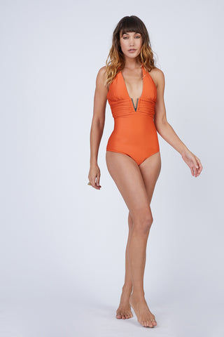 HEIDI KLEIN V Bar One Piece Swimsuit - Orange One Piece | Orange| Heidi Klein V Bar One Piece Swimsuit - Orange. Features:  Removable internal foam cups give good shaping with internal underband for further support. There is soft boning in the side seam and light removable padding at the bust. The Heidi Klein bespoke V Bar hardware at the centre front subtly draws attention to the bust. Neckline, underarm, back and legs have hidden elastic for secure fit and halterneck ties allow for adjustable fit. Front View