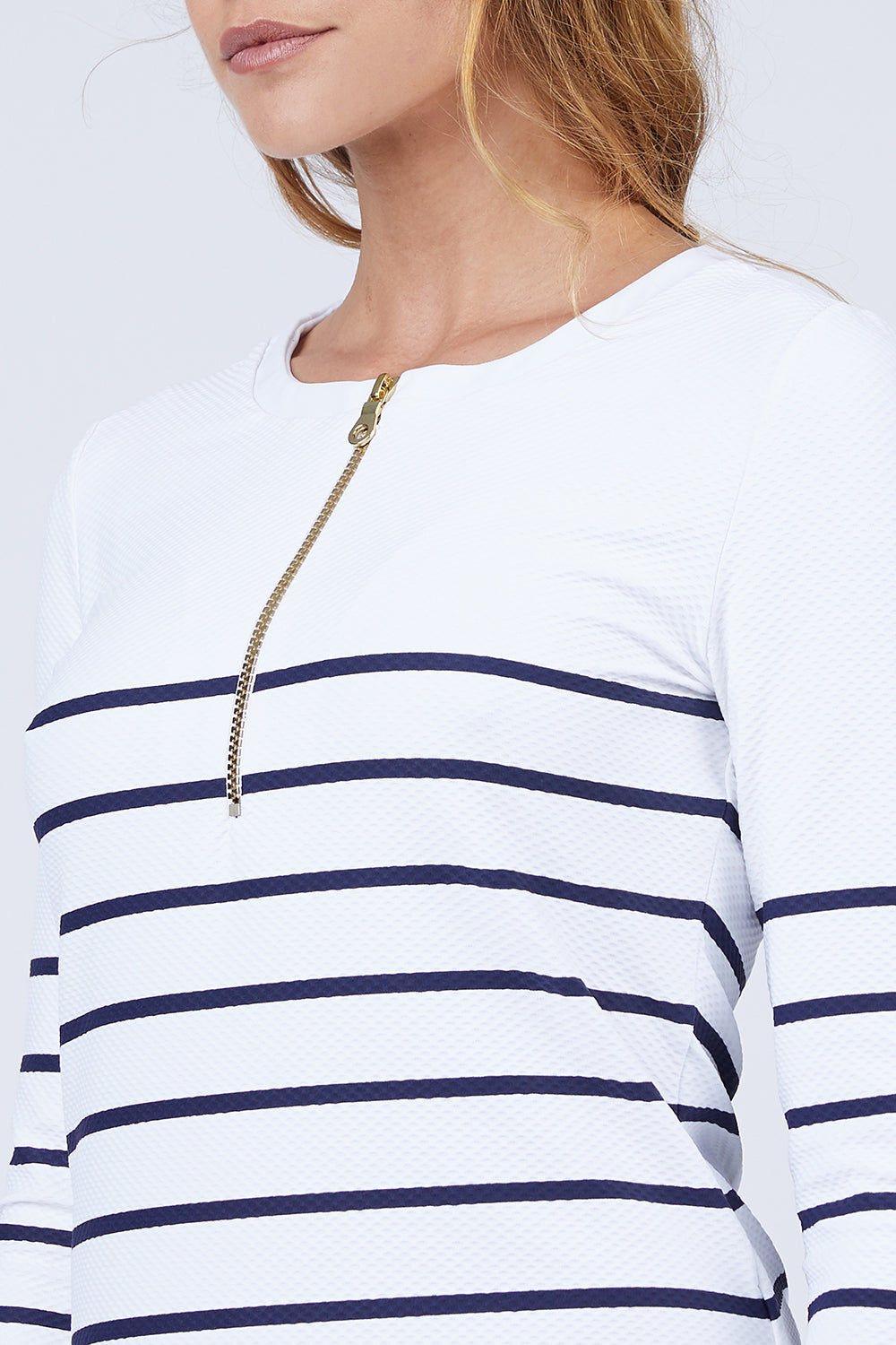 HEIDI KLEIN Rash Vest - Nautical Stripe Print Bikini Top | Nautical Stripe Print | Heidi Klein Rash Vest - Nautical Stripe. Features:  Rash vests in block colors and slimline stripes swimsuits Impeccably cut for a flattering fit from technically advanced textured fabric Finished with beautifully weighted hardware Composition: 85% Polyamide 15% Elastane Front View