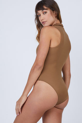 AMAIO SWIM Collette Plunging One Piece Swimsuit - Umber Brown One Piece | Umber Brown|  Amaio Swim Colette Plunging One Piece Swimsuit - Umber Brown Features: Collared. Plunging deep-V neck. Medium coverage. Back View