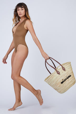 AMAIO SWIM Collette Plunging One Piece Swimsuit - Umber Brown One Piece | Umber Brown|  Amaio Swim Colette Plunging One Piece Swimsuit - Umber Brown Features: Collared. Plunging deep-V neck. Medium coverage. Front View