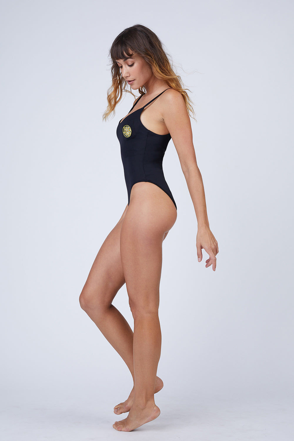AMAIO SWIM Iris Scooped Back One Piece Swimsuit - Black One Piece | Black|Iris Scooped Back One Piece Swimsuit - Features: thin strip, high leg cut, one piece