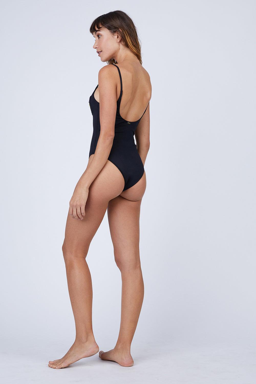 AMAIO SWIM Iris Scooped Back One Piece Swimsuit - Black One Piece | Black| Amaio Swim Iris Scooped Back One Piece Swimsuit - Black Features: thin strip, high leg cut, one piece Back View