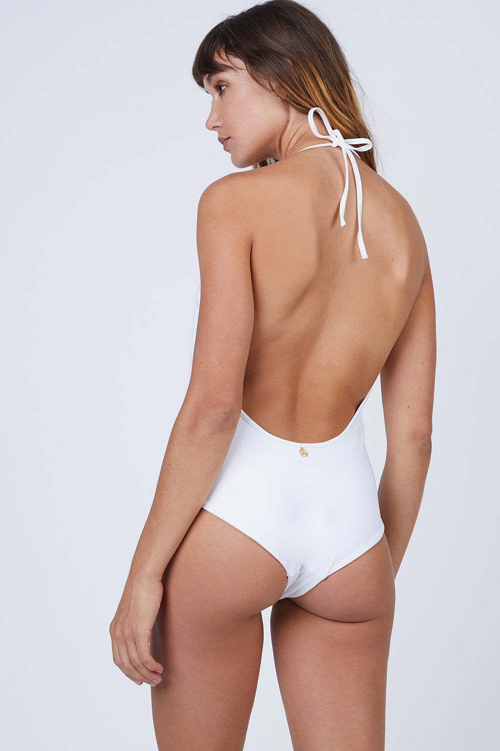 AMITA NAITHANI Floral Crush Plunging One Piece Swimsuit - White & Tea Rose One Piece   White & Tea Rose  Amita Naithani Floral Crush Plunging One Piece Swimsuit - White W/ Tearose. Features:  Plunging neckline Hand wash Front View