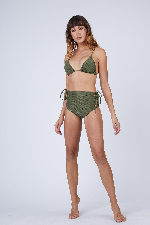 ROSA CHA Hot Laces High Waisted Bikini Bottom - Olive Green Bikini Bottom | Olive Green| Rosa Cha Hot Laces High Waisted Bikini Bottom - Olive Green