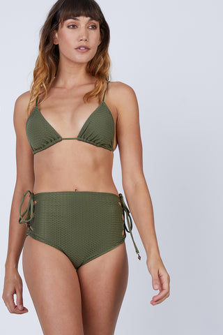 ROSA CHA Basic Triangle Bikini Top - Olive Green Bikini Top | Olive Green| Rosa Cha Basic Triangle Bikini Top - Olive Green Basic Triangle Top  Adjustable Sliding Triangles  Ties at Halter Neck  Ties at Center Back Front View